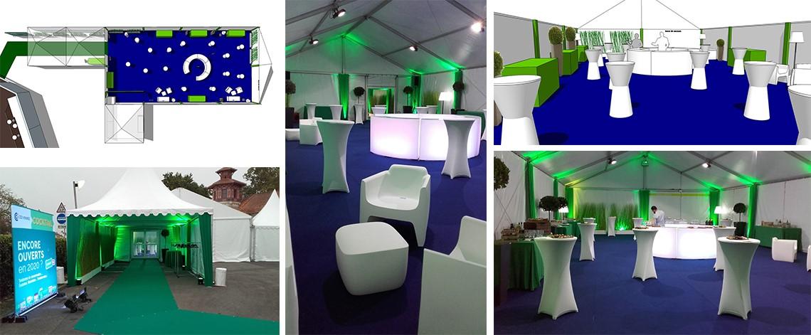 décoration chapiteau, agencement d'espace événementiel, location de mobilier, aménagement chapiteau, cocktail événementiel, événement professionnel, vendée, scénomob