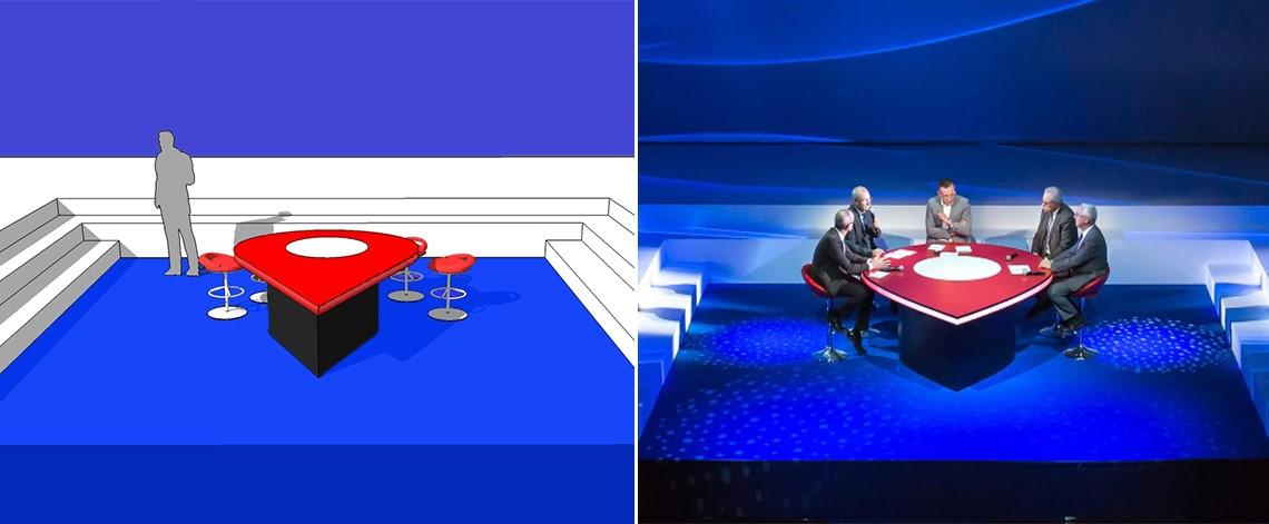 création, fabrication, table, sur-mesure, originale, plateau TV, pour convention, sur scène