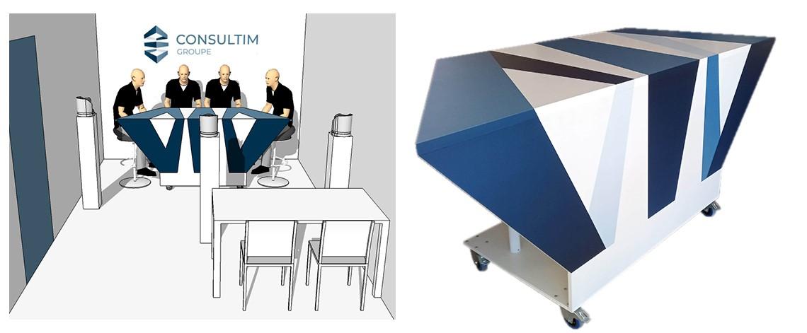 fabrication d'une table pour webTV - scénomob, agence de scénographie événementielle et audiovisuelle