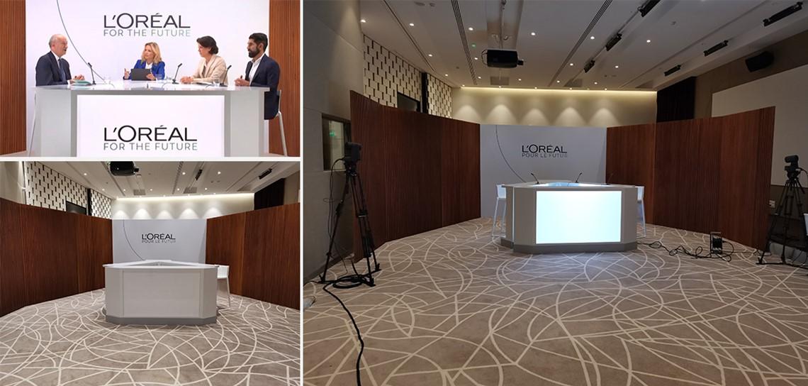 location d'une table TV pour conférence de presse, location de mobilier de studio TV, location de mobilier modulable pour la scène, location de mobilier pour convention, Scénomob